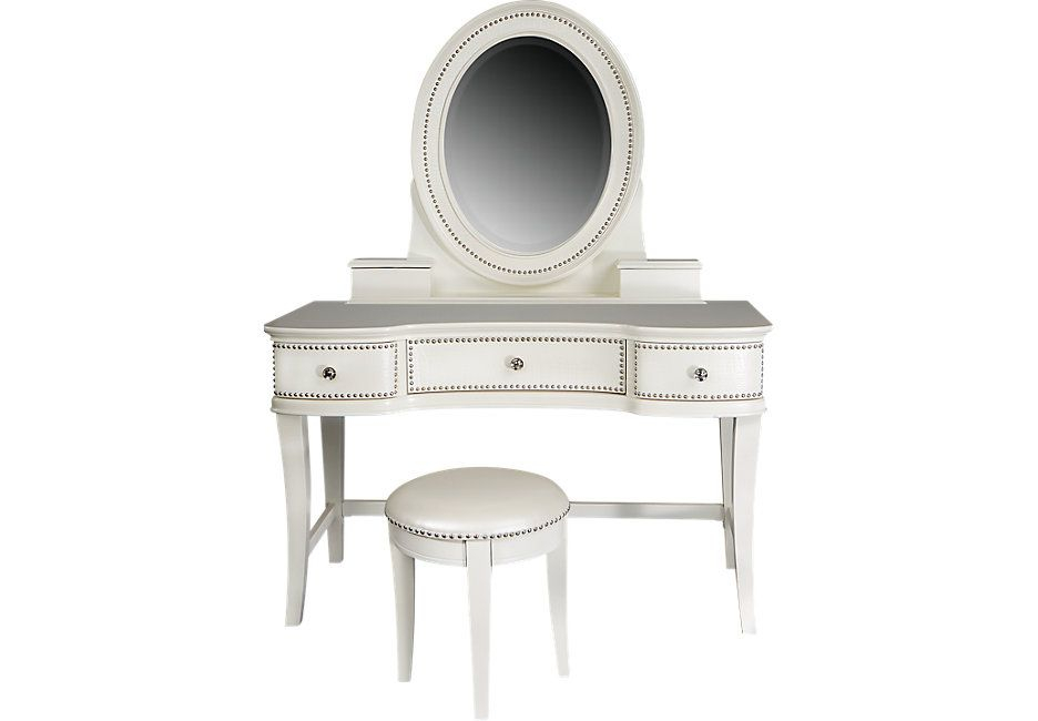 Pleasant Sofia Vergara Kayla White Vanity Mirror And Stool Set From Ncnpc Chair Design For Home Ncnpcorg
