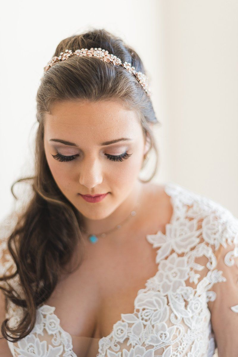 bride in lace dress before her wedding in fitzgerald