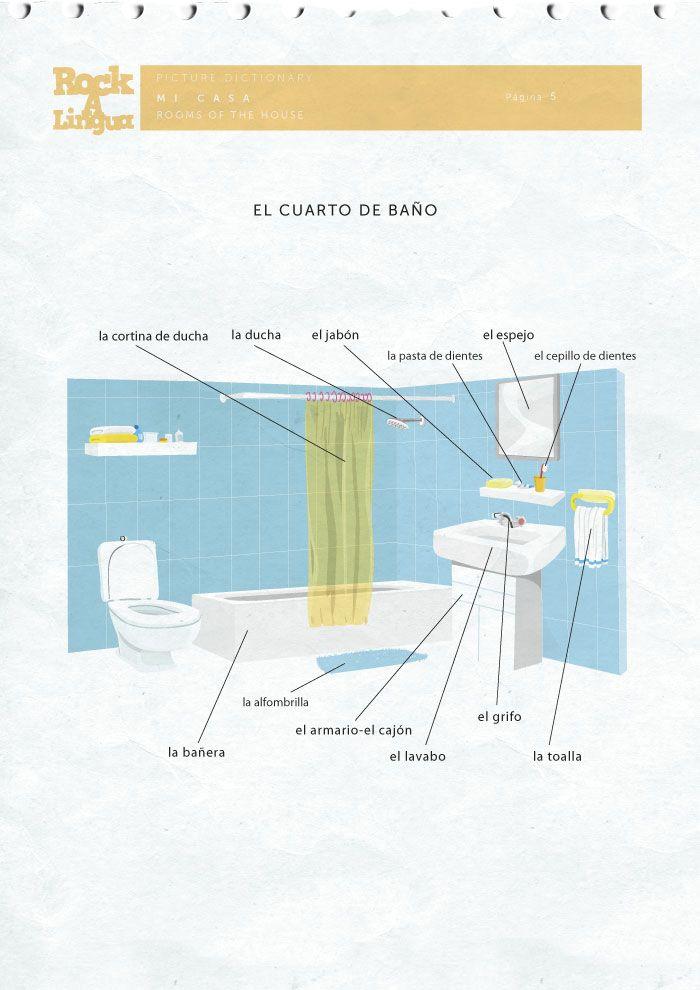 El Cuarto De Bano Bathroom In Spanish Download For Free At Www Rockalingua Com Preschool Spanish Spanish Worksheets Worksheets For Kids