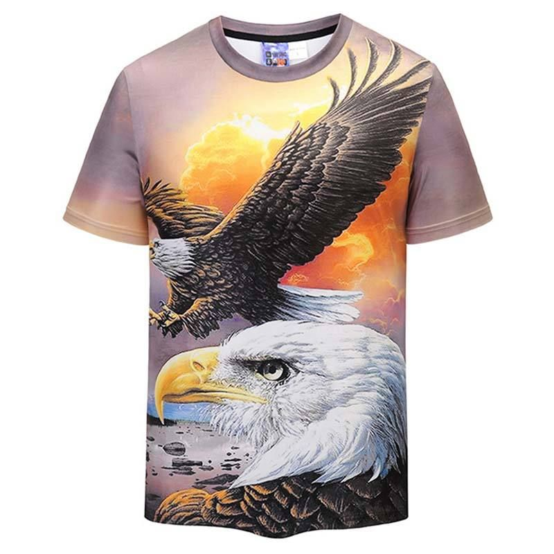 New Fashion Men//Women/'s Animal Eagle 3D Print Casual T-Shirt Short Sleeve