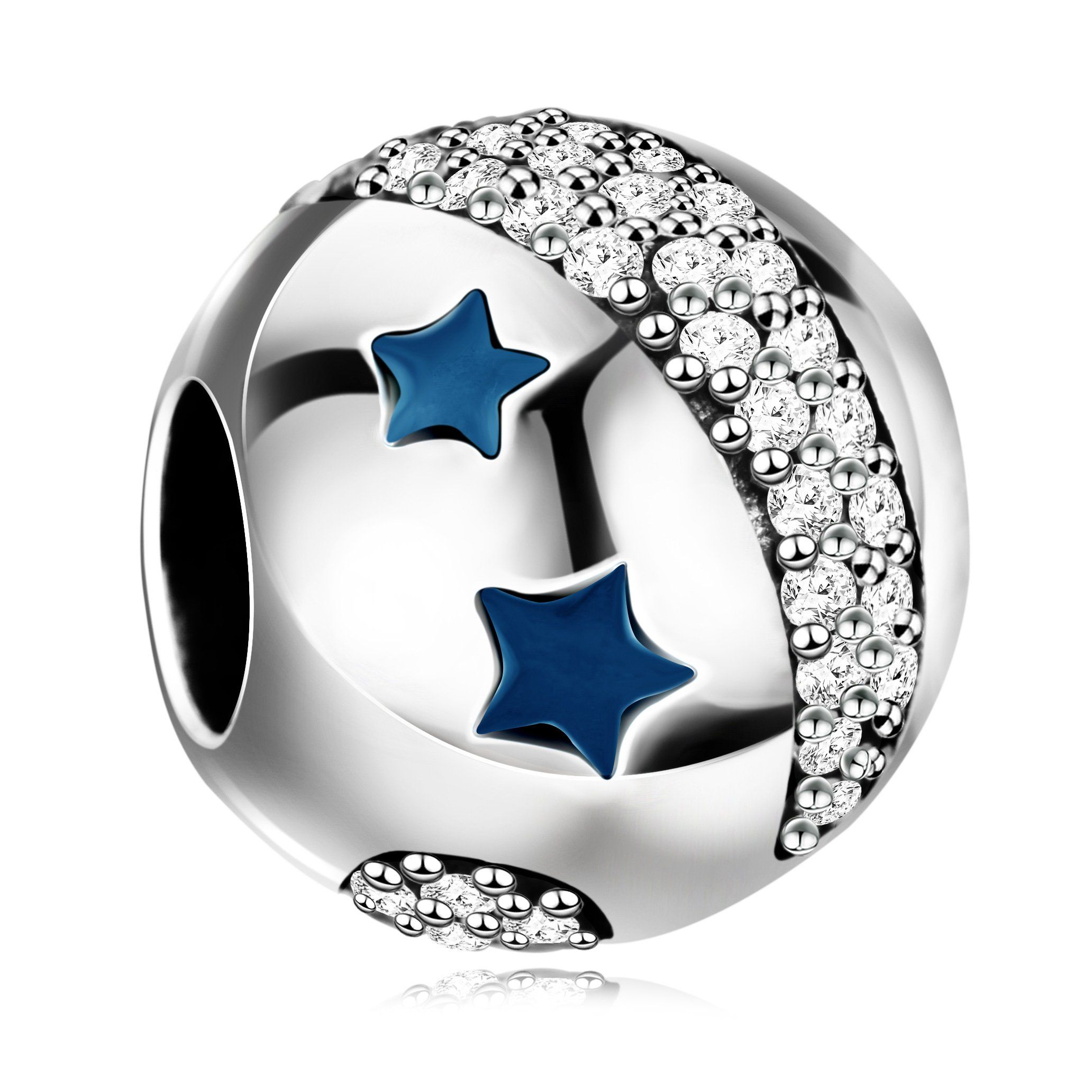 51db441d9 925 Sterling Silver Twinkling Night Star Charms Bead for European Snake  Chain Bracelets. Perfect fits