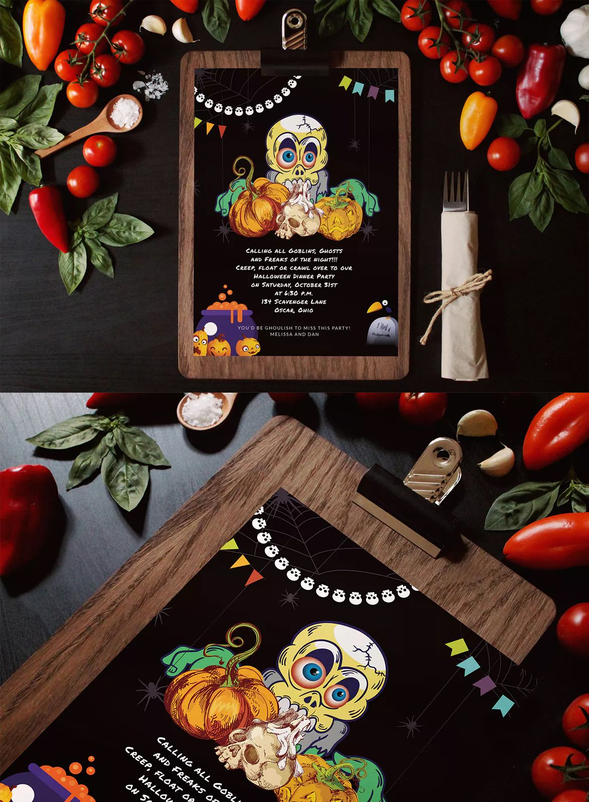 Halloween Dinner Invitation Card Template Psd