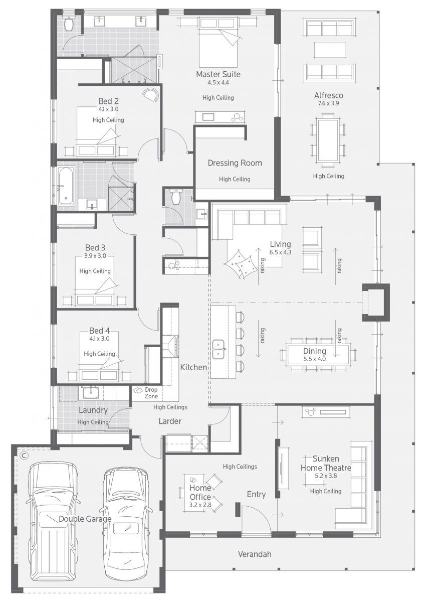 4 master bedroom house plans  Floor Plan Friday Master suite at the rear Katrina Chambers