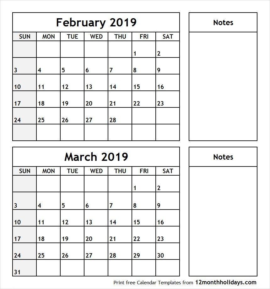 February And March 2019 Calendars February March 2019 Calendar Printable #february #march