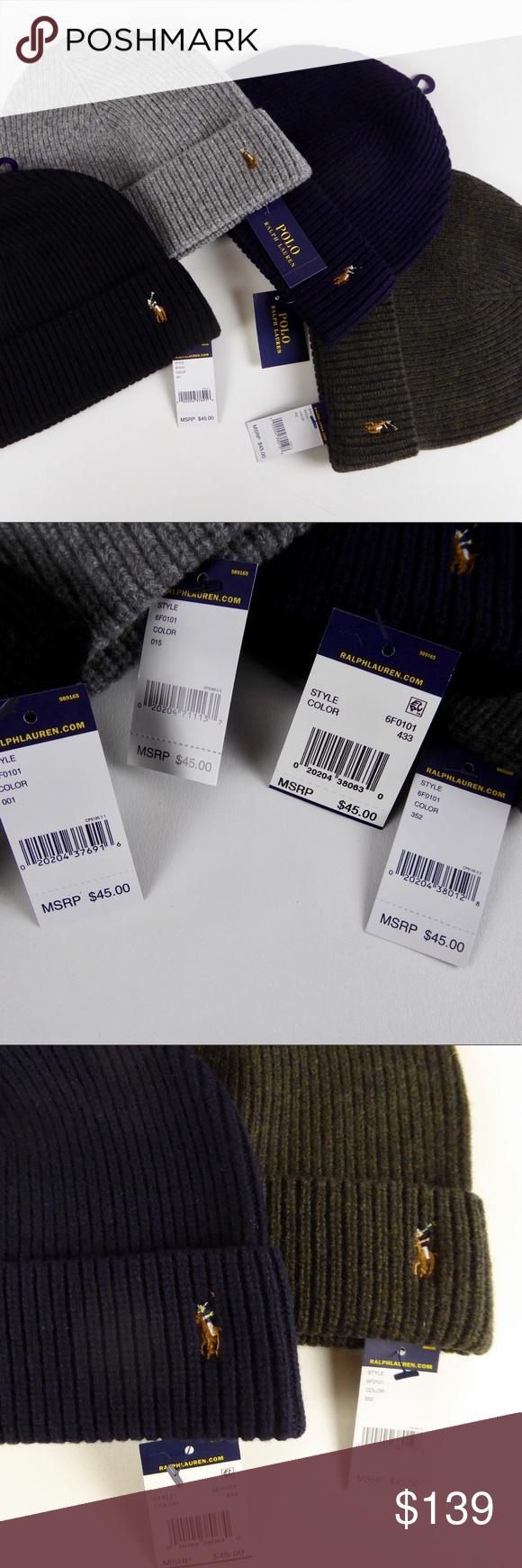 Polo Ralph Lauren Merino Wool Watch Cap Beanie Set Polo Ralph Lauren Hat  Bundle 🏇🏽 c4239ae02e46