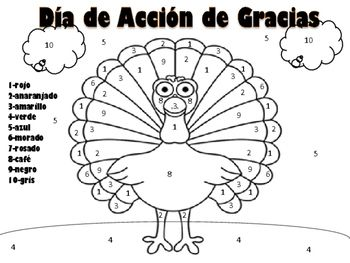 Thanksgiving Turkey Color By Number In Spanish Turkey Colors Spanish Colors Turkey Coloring Pages