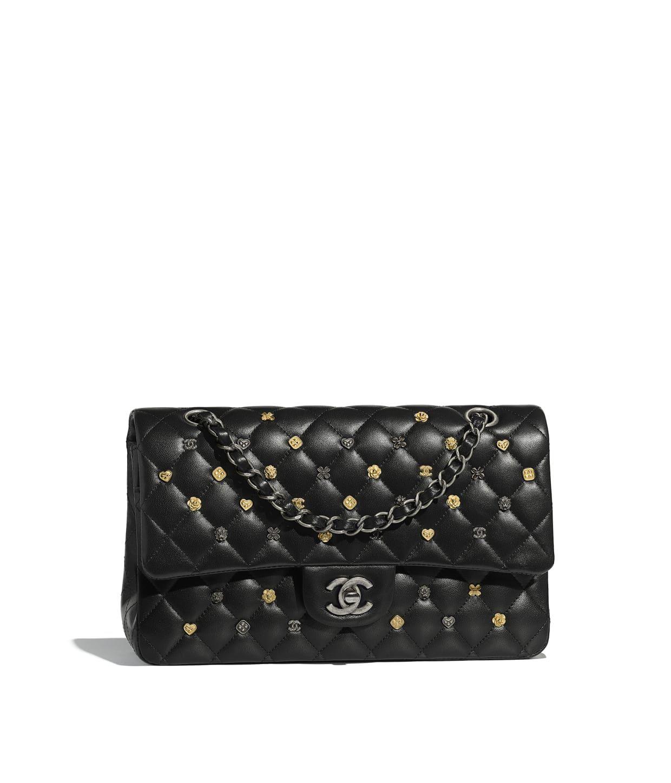 f58a8ad48ec932 CHANEL | Classic Handbag - Black | Lambskin, Gold-Tone & Ruthenium-Finish  Metal | $7,900 | 16 x 26 x 7 cm | chanel.com