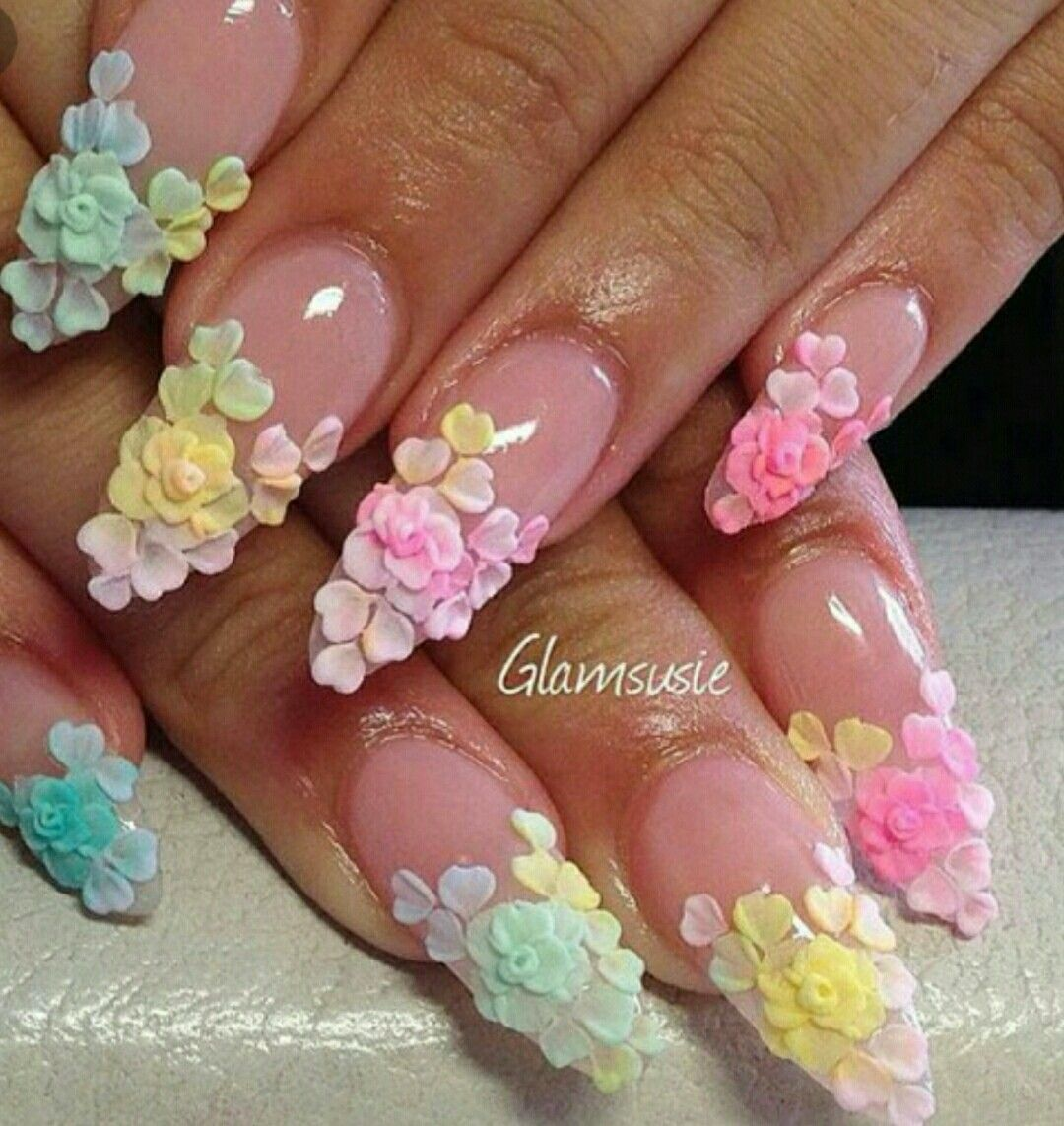 Very Beautifully Sculpted Stiletto Nail Set With Acrylic Petals