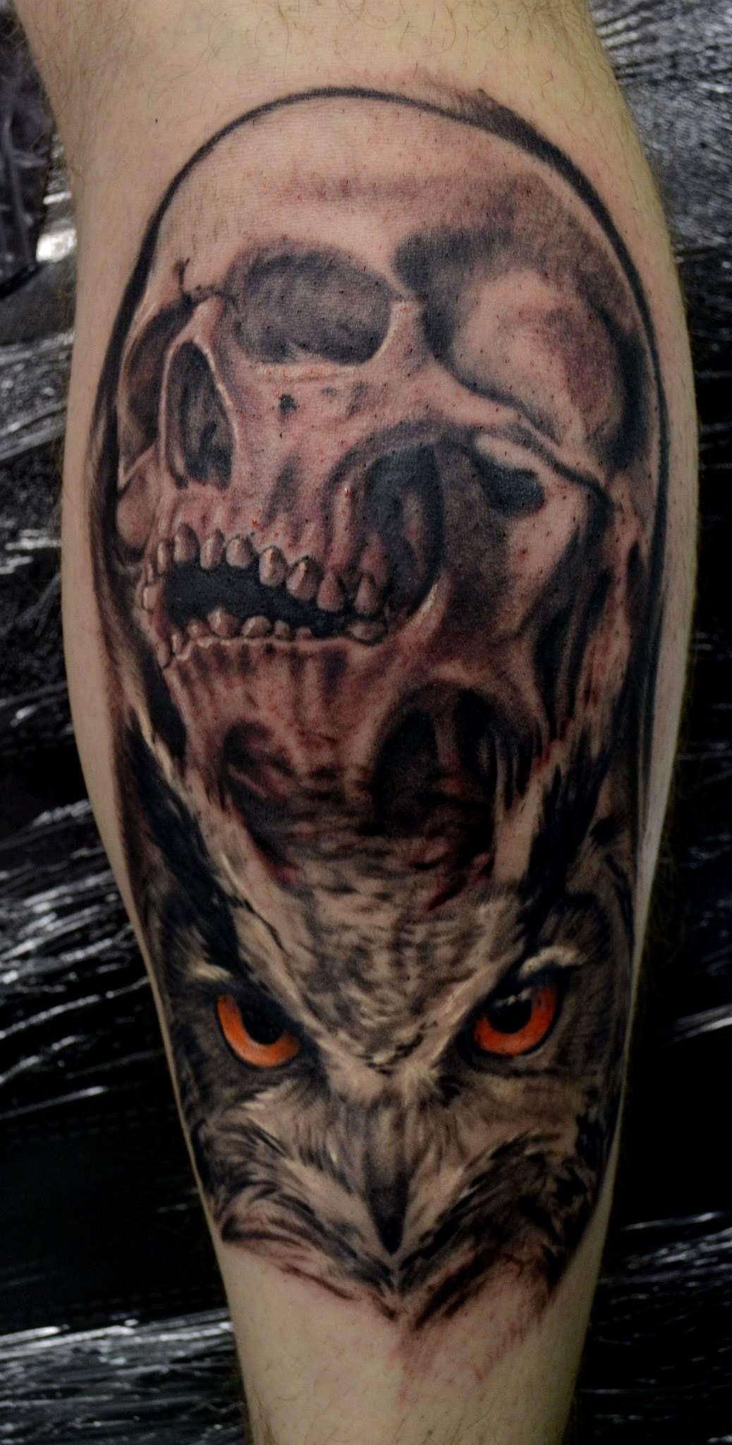 Skull Owl Design Ink Tattoo Dublin Ireland Eyes Light