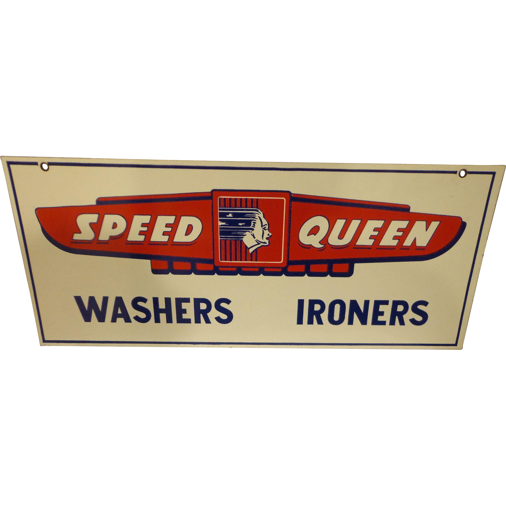 This Is A Great Piece Of Americana It Is A Double Sided Sign From The Old Speed Queen Manufacturing Compan Speed Queen Washer Vintage Art Deco Porcelain Signs