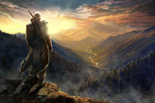 Картинка на горе стоит мужчина фэнтези