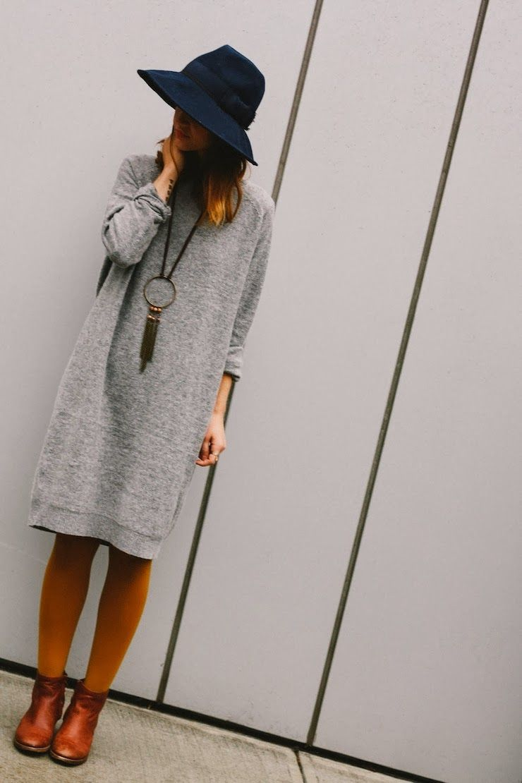 grey jersey dress, yellow tights, camel boots, navy wool hat