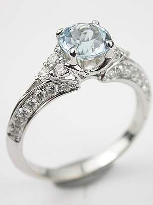 antique style aquamarine engagement ring rg 3433 - Antique Style Wedding Rings