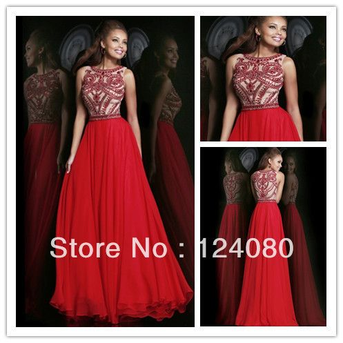 Elegant Long Chiffon Prom Dresses 2014 Summer A Line Covered Back ...