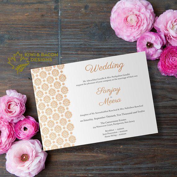 Indian Wedding Invitation Card Simple Mughal by KiwiAndBacon sikh