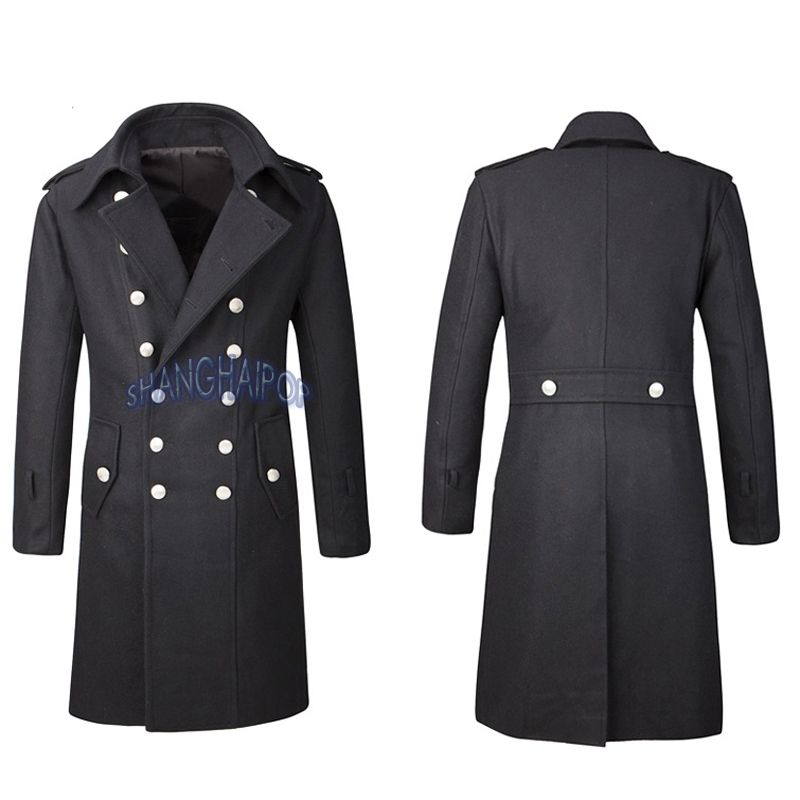 Double Breasted Trench Coat Overcoat Jacket Men Wool Outerwear ...