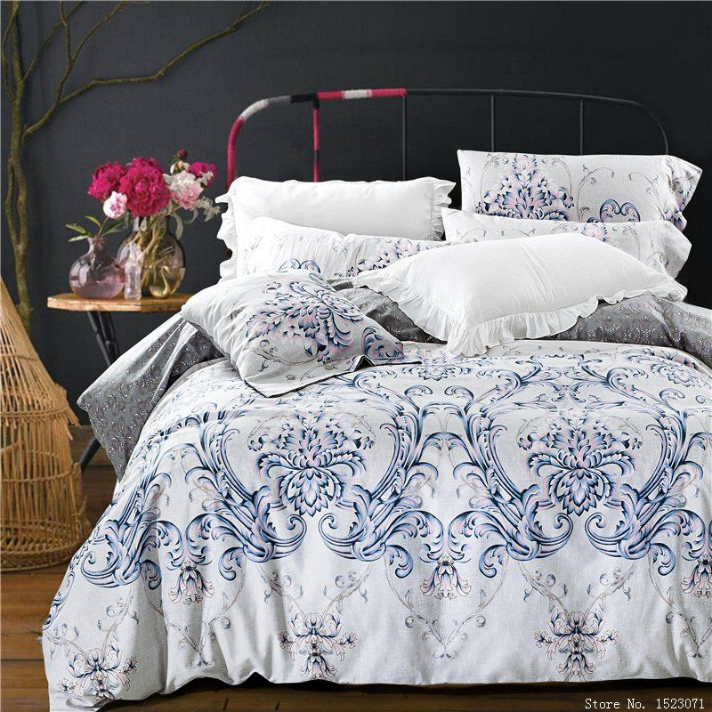 European Style Bedding Sets Health Cotton Flower Bed Linen Duvet Cover Flat  Sheet Pillowcases King/queen Size 4 Pcs Free Ship
