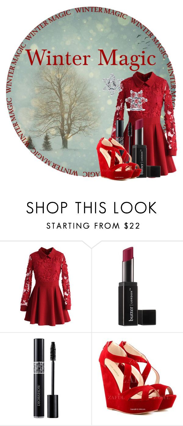 """""""Winter Magic"""" by rhythmicgoofyworm ❤ liked on Polyvore featuring Chicwish, Butter London and Christian Dior"""