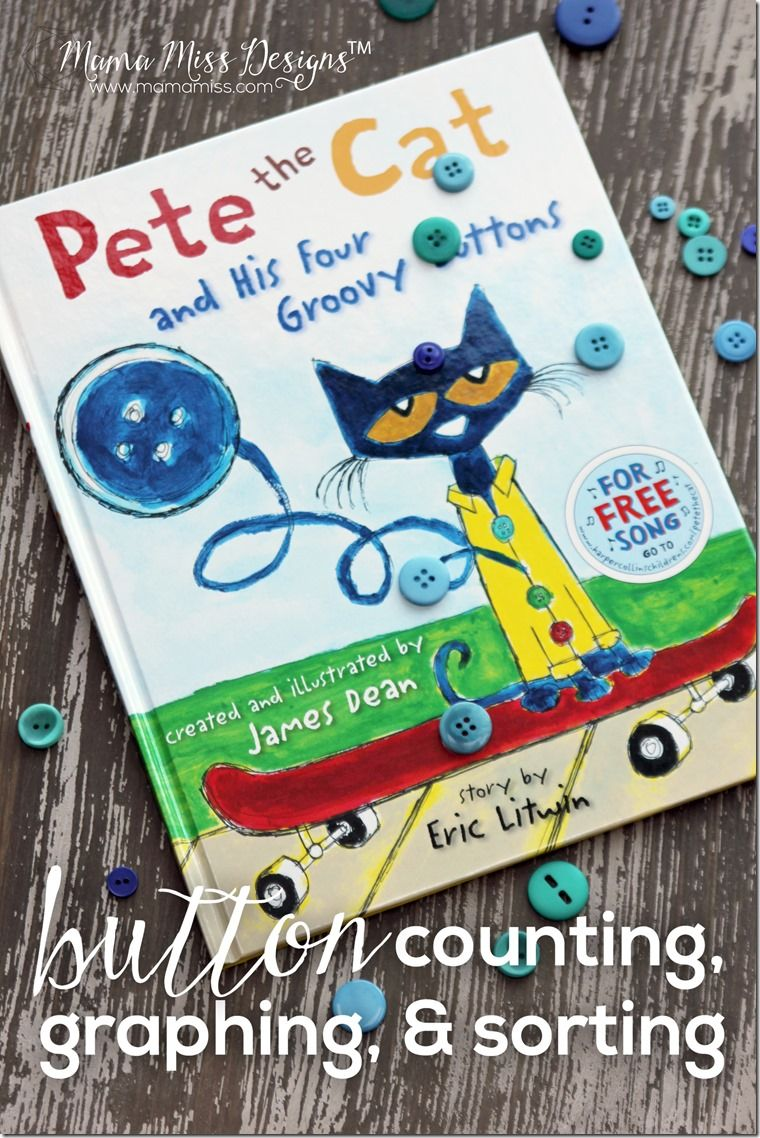 Inspired by Pete The Cat - Button Counting, Graphing, and Sorting with FREE PRINTABLE!   @mamamissblog #vbcforkids #bookactivities