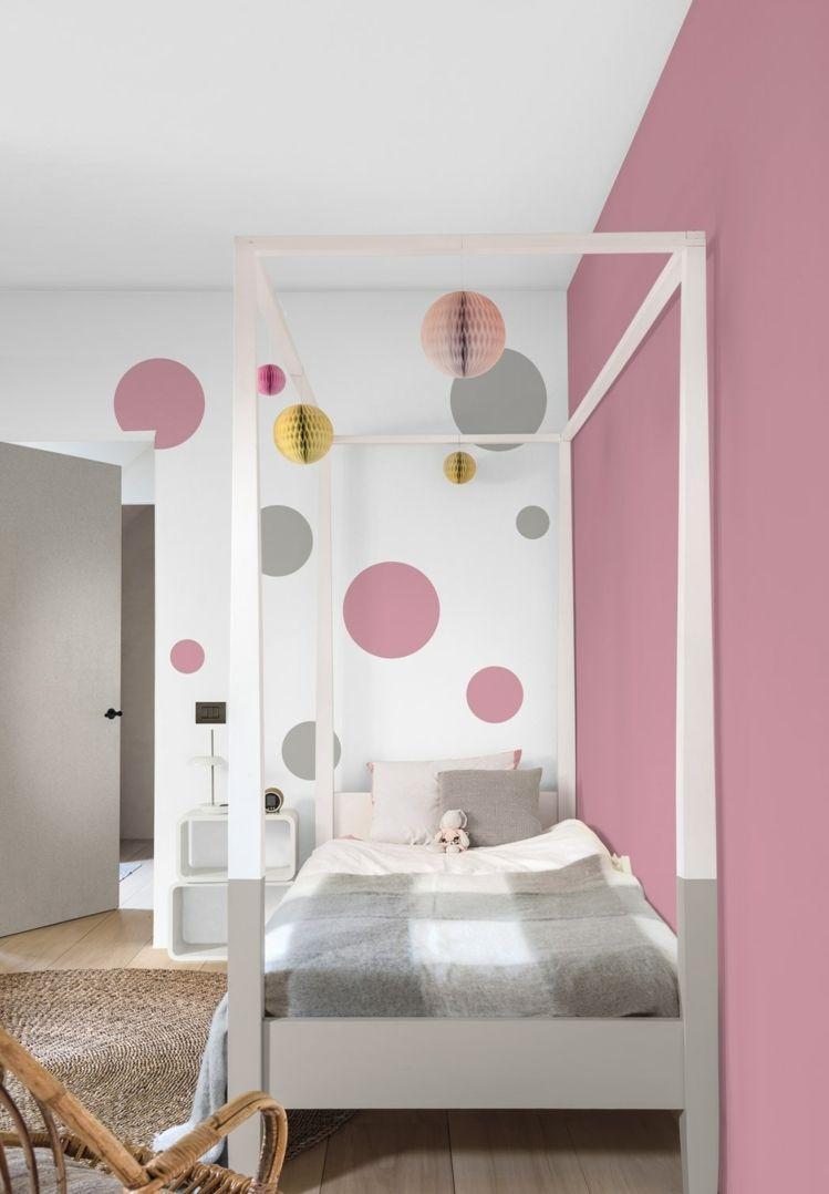 Kreise In Rosa Und Grau In Einem Madchenzimmer Kinder Zimmer Kinderzimmer Streichen Babyzimmer Wandgestaltung