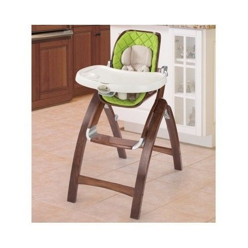 Wood Baby High Chair Green Infant Seat Feeding Toddler Booster