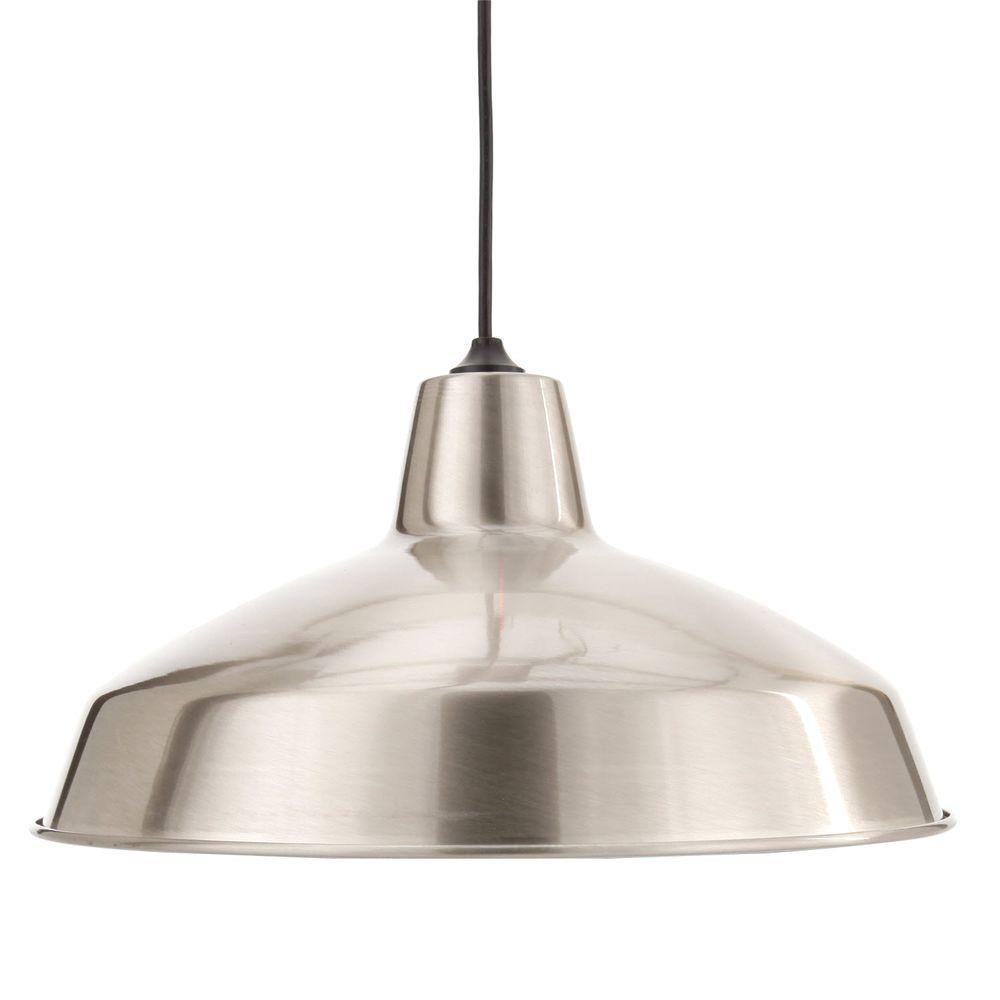 Hampton bay light brushed nickel warehouse pendant
