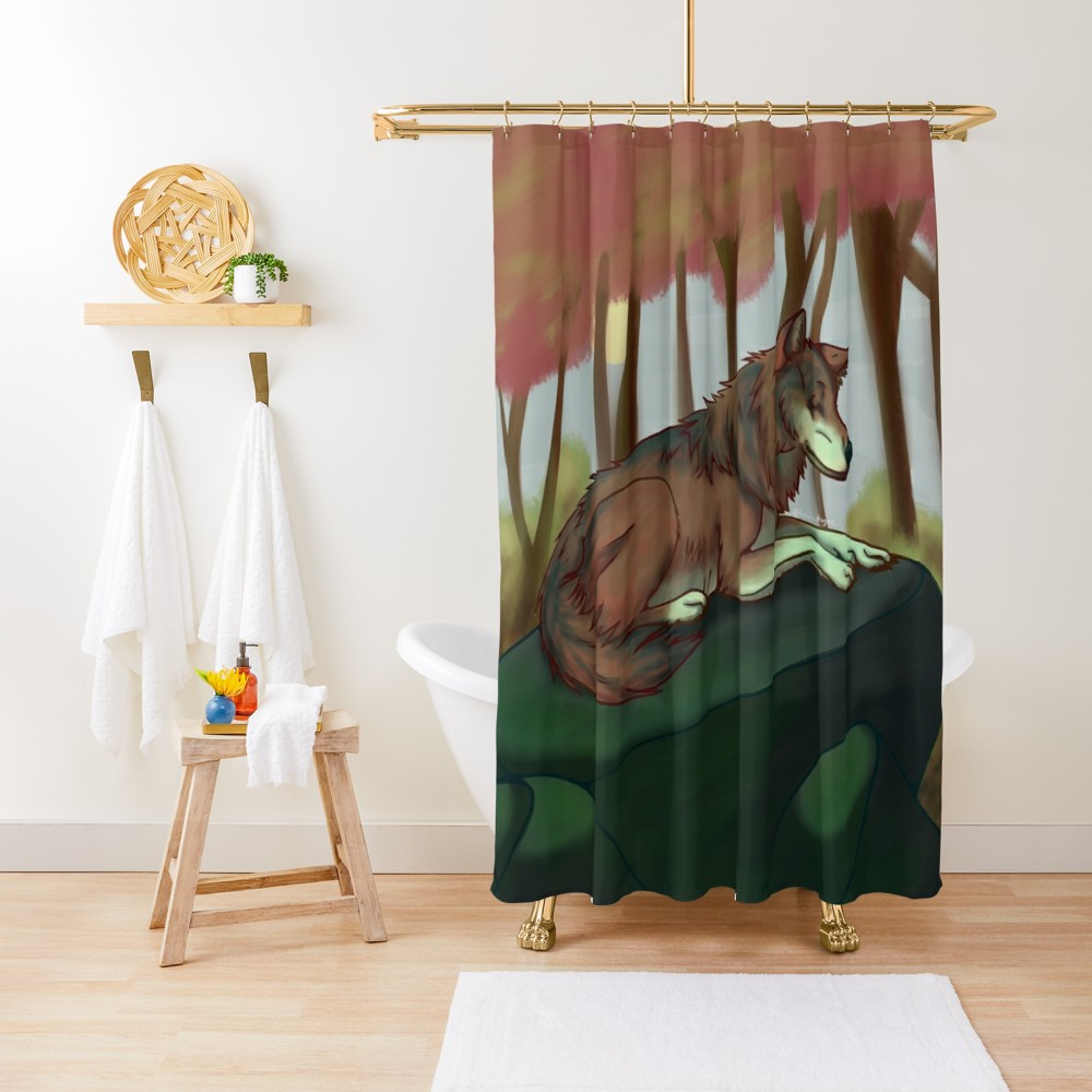 European Wolf Shower Curtain Wolf Shower Curtain Curtains