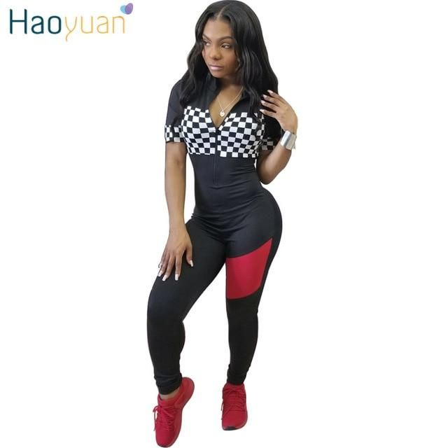 cd353aeacaab HAOYUAN Checkerboard Plaid Patchwork Sexy Jumpsuit Front Zip Full Bodysuit  Casual Overalls Short Sleeve Rompers Women