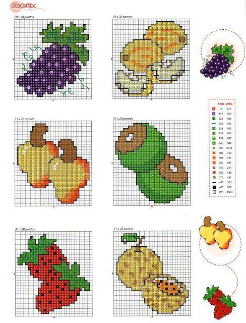 ♥Meus Gráficos De Ponto Cruz♥: Frutas em Ponto Cruz: Barrinhas e ...