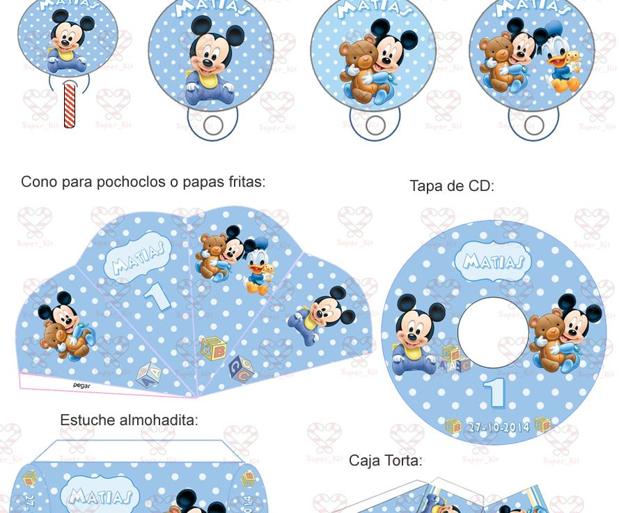 Kit Imprimible Mickey Bebe - Minnie Bebe - Candy Bar 2x1 | Bebe ...