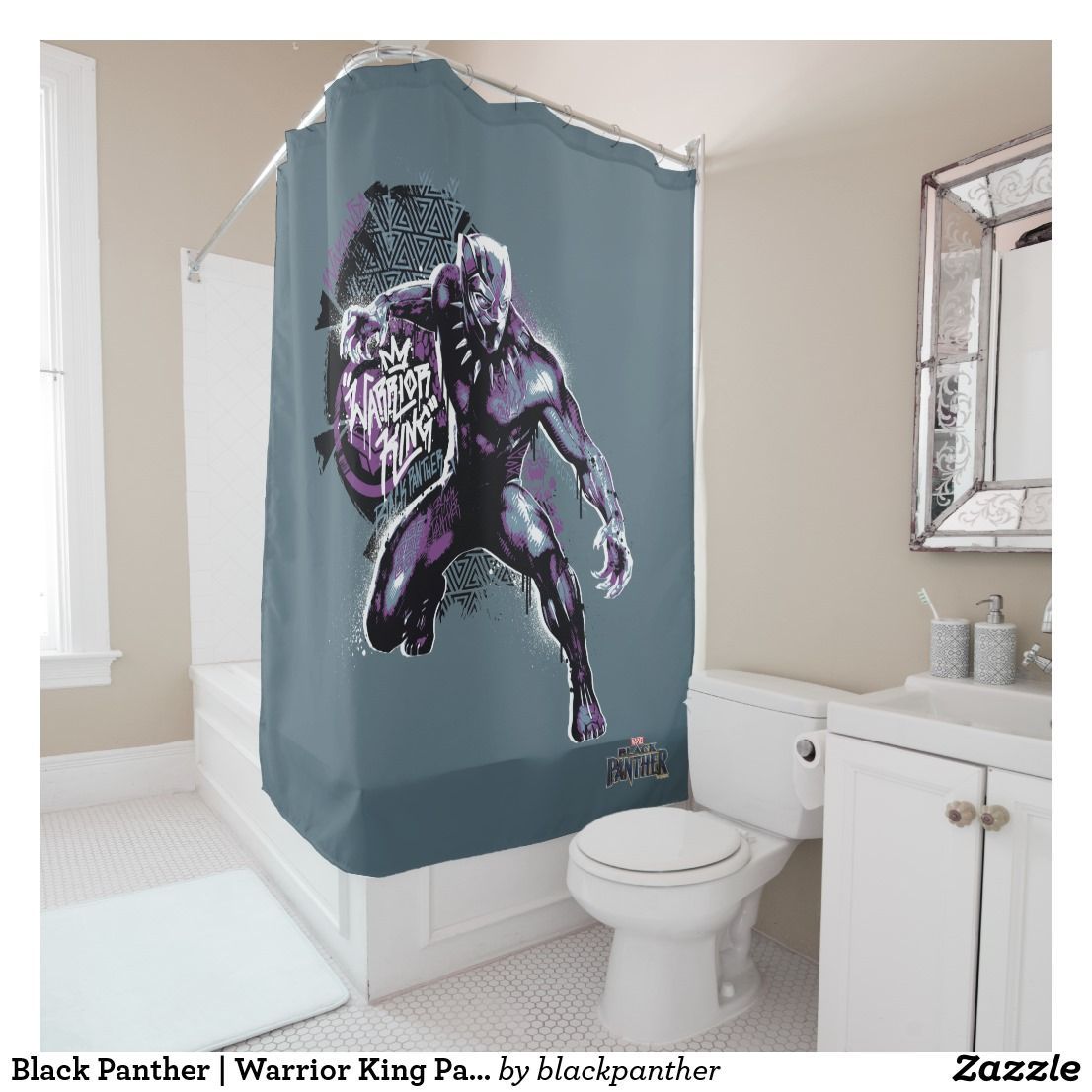 Black Panther Warrior King Painted Graphic Shower Curtain