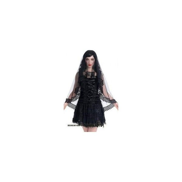 Black Net Lace Gothic Wedding Veil by Sinister ($37) ❤ liked on Polyvore featuring accessories