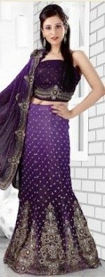 Violet Georgette Lehenga Style Saree with Blouse - £358.00. For full product information, visit: http://www.reevaonline.co.uk/sarees/violet-georgette-lehenga-style-saree-with-blouse.html #sarees #designer #fashion