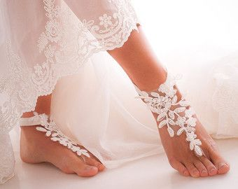 Barefoot Sandals Ivory Beach Shoes Bridal By Uniontouch