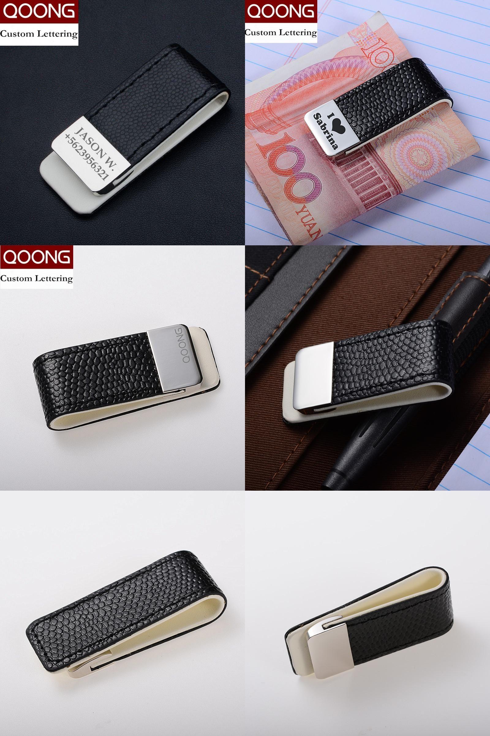 Visit to Buy  QOONG Men Women Leather Money Clip Wallet Slim Metal Money  Holder bb9c12fb9