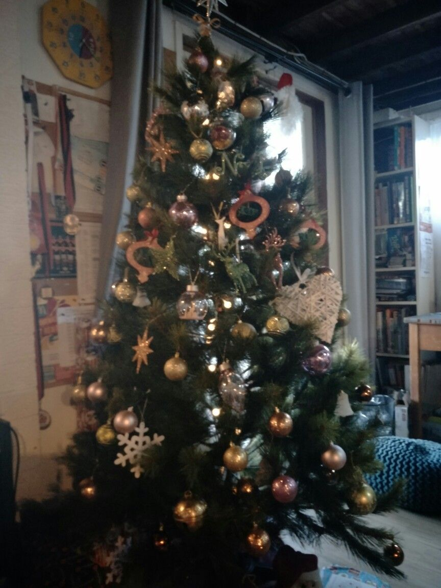 Our christmas tree in colour theme tropical pink lime