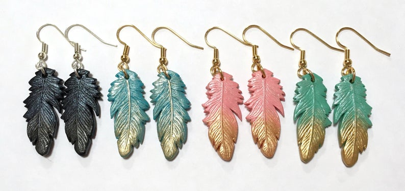earring charms polymer clay feathers tribal feathers Feather earrings handmade jewelry