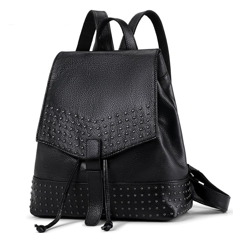 da9c46a10c1a 100% Genuine leather Women Backpack Large Capacity Rivet Black Leather  Shoulder Bag Lady Girls School Travel Women Bags Backpack  Affiliate