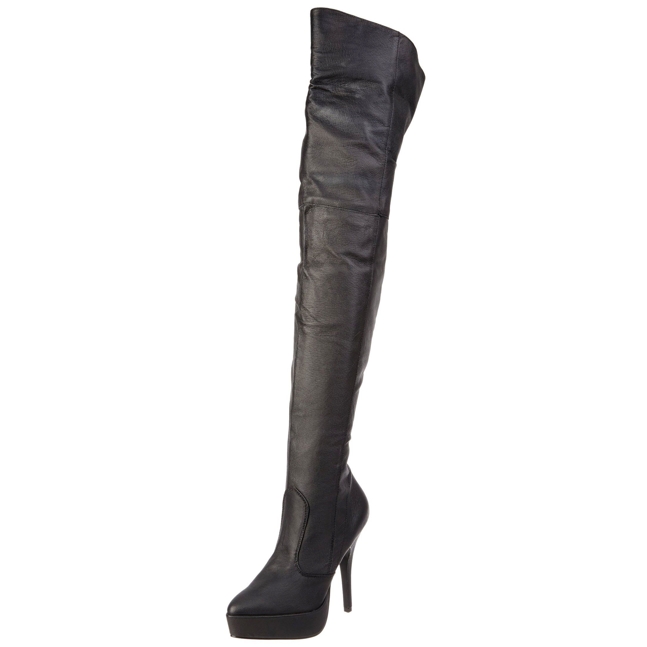 8eb61fb113f3 Womens Black Boots 5 Inch Heels Thigh High Boots Mid Platforms Pig Leather  Size  11