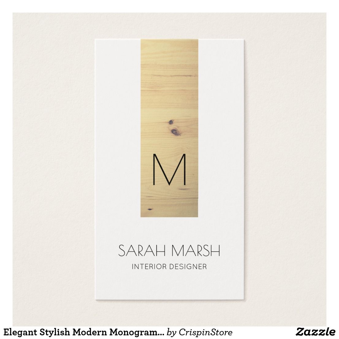 Elegant stylish modern business card with monogram wood interior shop elegant stylish modern monogram wood business card created by crispinstore reheart Image collections