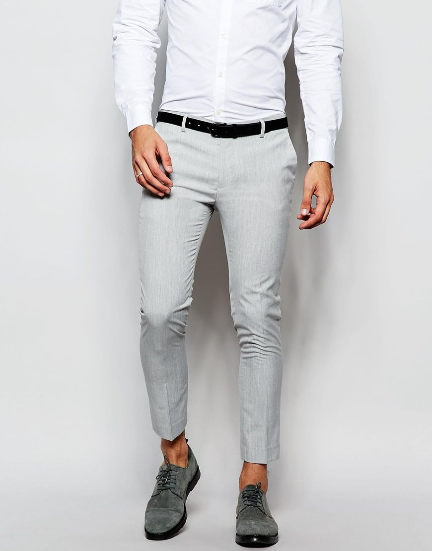 Asos Super Skinny Smart Cropped Trousers In Pale Grey His Style