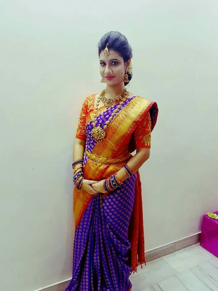 46f7bb73b0f68 Beautiful South Indian Bride in Blue and Red Silk Kanjivaram Saree and  Temple Jewelry