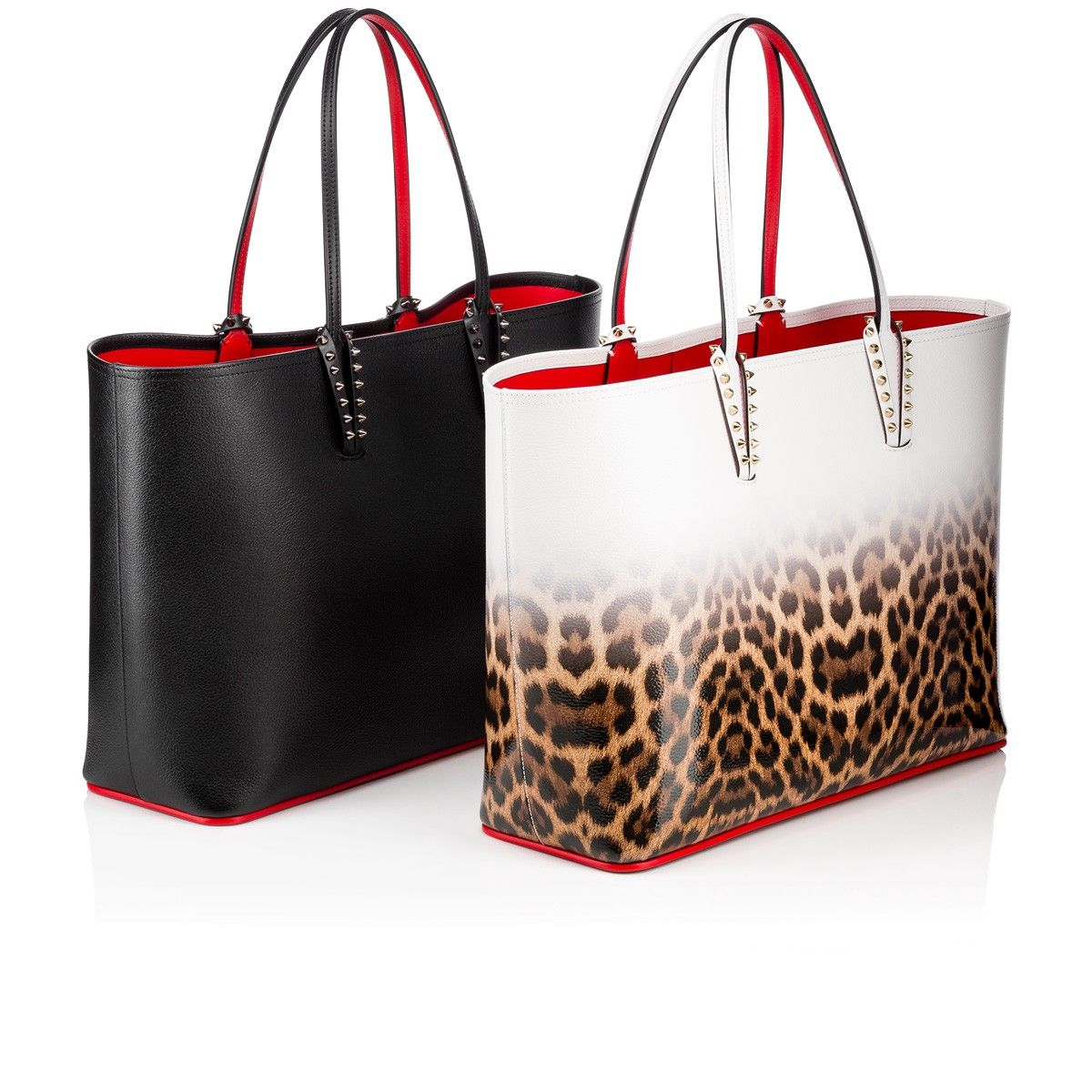 Cabata Studded Printed Leather Tote - Red Christian Louboutin