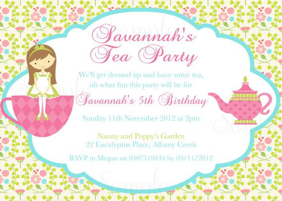 Tea Party Birthday Theme Printable Invitation And Gift Favor Tags On Etsy 1500