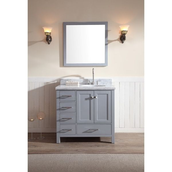 Ariel Bath Cambridge 37 Single Sink Vanity Set In Grey With Right Offset Top Included