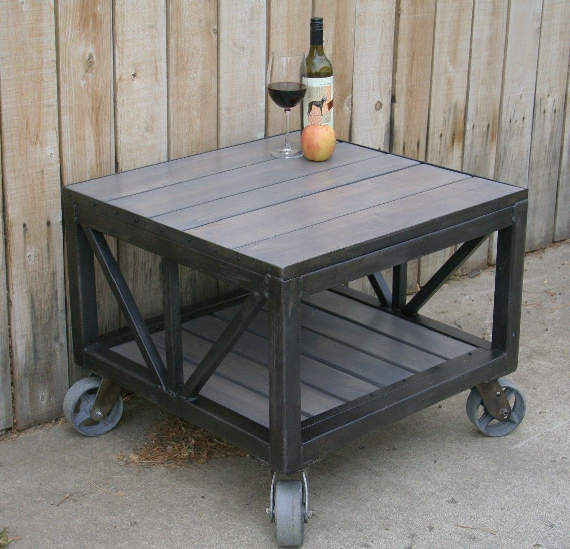 Handmade scrap metal and reclaimed wood coffee table for Repurposed metal furniture