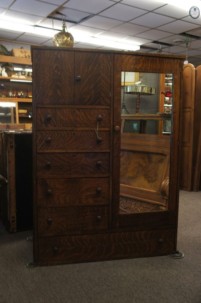 Early 20th Century Oak Wardrobe Silver Mirror 6 Drawer Chest Lock Amp Key Armoire Antique Furniture Armoires Armoire Antique Armoire Oak