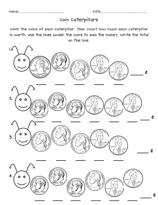 Coin Caterpillarspdf Counting Money Worksheets Pinterest
