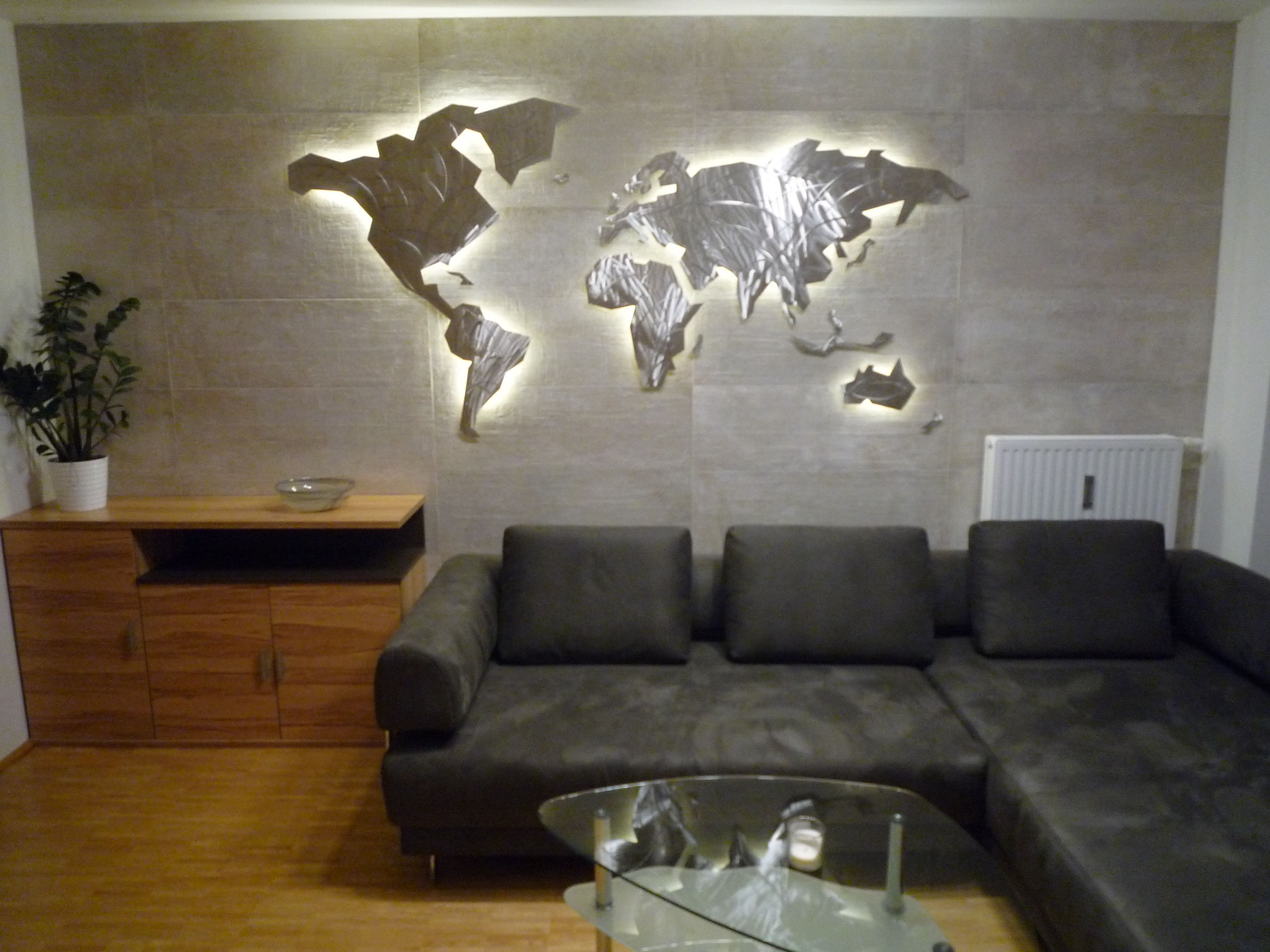 Led World Map.Wall Art World Map Geomundi Stainless Steel Curved Floating For The