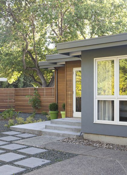 Exterior House Designs Exterior Modern With Concrete Patio Flat Roof: Grey. Wood. White. Exterior Materials, Hardscape